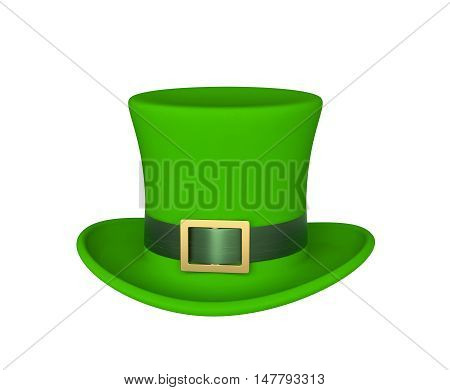 Lucky green hat for Saint Patrick's Day isolated on white. 3D rendering