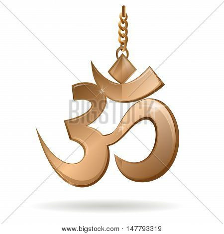 Golden glossy symbol Om (Aum) symbol on a gold chain. Sacred sound and a spiritual icon in Indian religions. Vector illustration isolated on white background