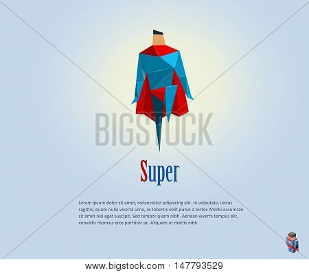 Vector polygonal illustration of super hero, origami style icon, modern cartoon super hero man character