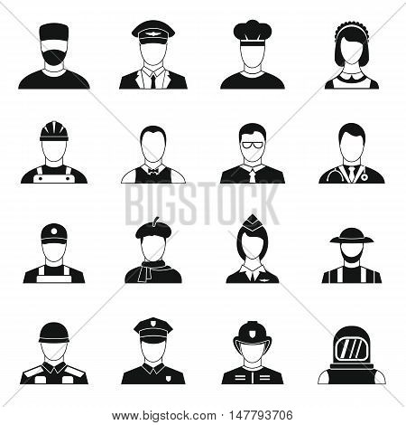 Professions icons set in simple style. People activities set collection vector illustration