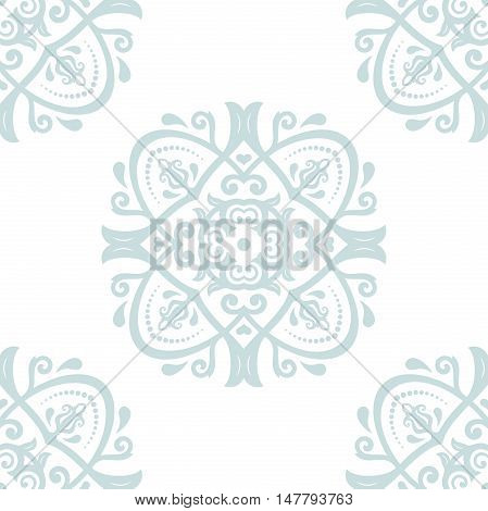 Oriental classic pattern. Seamless abstract background with repeating elements. Light, blue, white