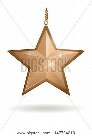 Golden amulet in the form of stars on the gold chain isolated on white background. Vector illustration