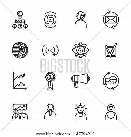 Linear startup icons set. Universal startup icon to use in web and mobile UI. startup basic UI elements set eps 10