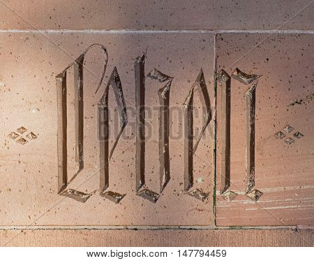 Sandstone with the word Leben (german word for life)