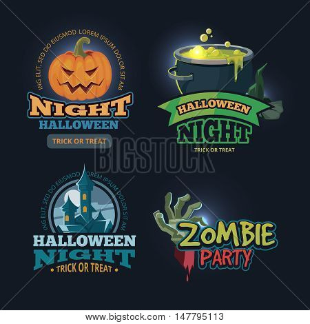 vector illustration set of halloween badges, emblems isolate on dark background. Design for party invitation with place for your text.