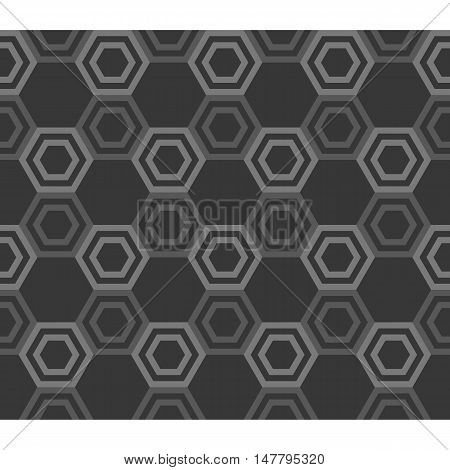 line of hexagon inside hexagon outline, geometric seamless pattern background