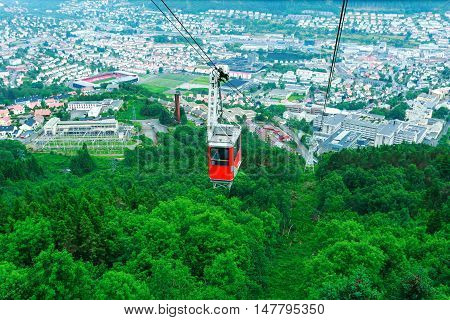 Ulriken Aerial red tramway in Bergen Norway