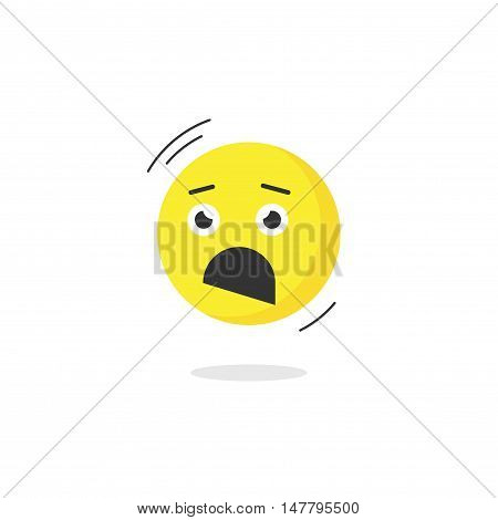 Fear emoticon face icon isolated, scared emotion, cartoon flat terrified emoji vector illustration
