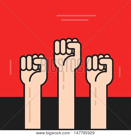 Hands with fists raised up vector poster, symbol of protest, revolution, line outline style