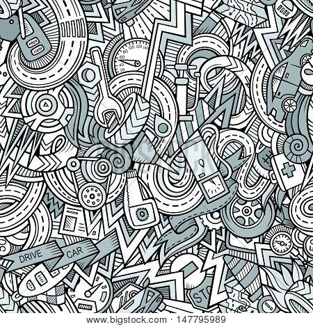 Cartoon hand-drawn doodles on the subject of Vehicle style theme seamless pattern. Line art vector background