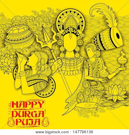 illustration of goddess Durga in Subho Bijoya (Happy Dussehra) background