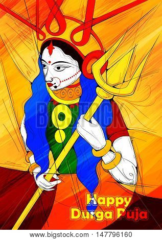 illustration of goddess Durga in Subho Bijoya (Happy Dussehra) background with Durga Puja greetings