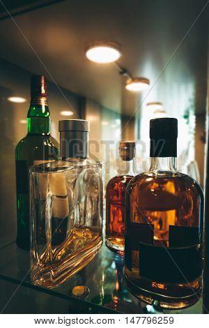 Bottles of spirits and liquor at the bar