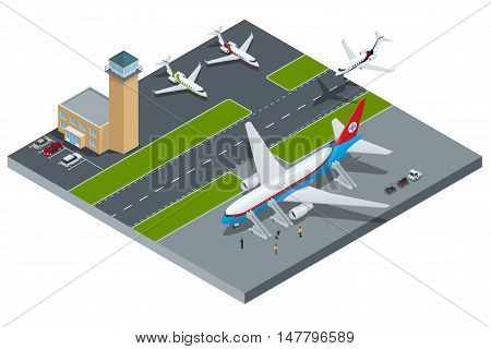 Vector Isometric representing airport, jet airplane, ground support vehicles and equipment. Airport, aircraft runway airline pilot stewardess, airport terminal, baggage, international airlines.