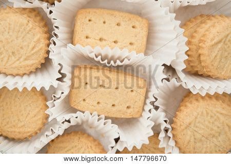 sweet cookies with paper wrap horizontal composition