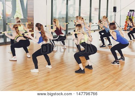 Squats with weights on training, view from back side. Group of young women in aerobics class making exercises. Girls do squats with barbells. Healthy lifestyle in fitness club