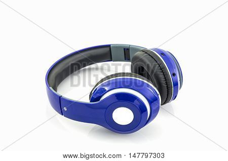 Close up blue headphones on a white background.