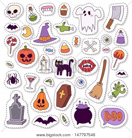 Halloween symbols vector collection autumn fear creepy traditional sign. Halloween symbols holiday bat horror design set. Celebration ghost spooky october halloween symbols.