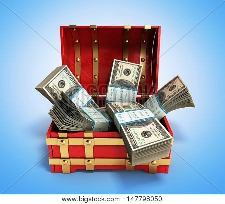 Pack Of Dollar Bills Inside A Red Wooden Chest 3D Render On Gradient Background
