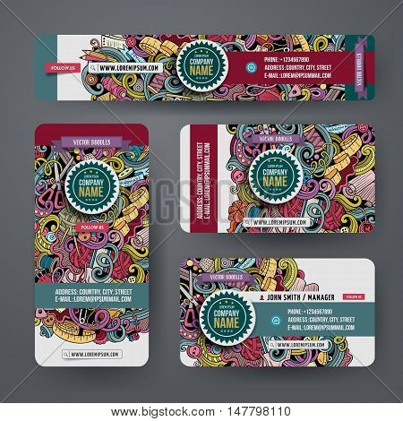 Corporate Identity vector templates set design with doodles hand drawn hand made theme. Colorful banner, id cards, flayer design. Templates set