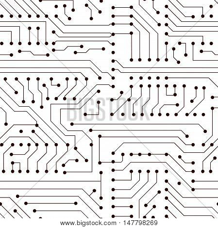 Vector seamless simple black circuit board pattern