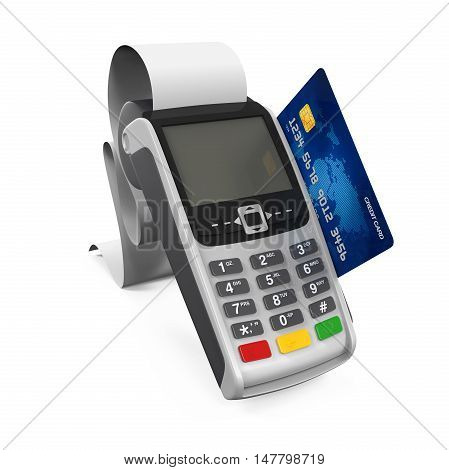 Point of Sale Terminal isolated on white background. 3D render
