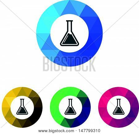 Modern Low Poly Ring Chemistry Flask or Beaker Icons