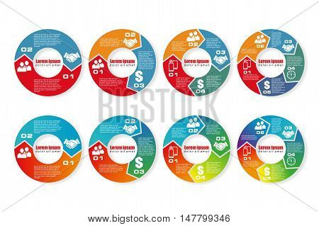 Vector illustration infographics many options. Graphic element for template brochure, business, web design. Business concept communication, meeting, work, money