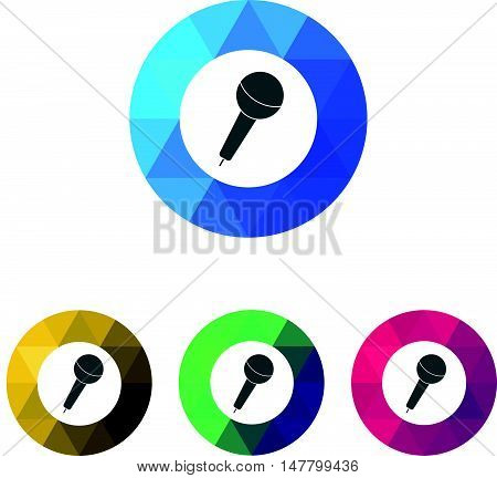 Modern Low Poly Ring Microphone or Sing Icons