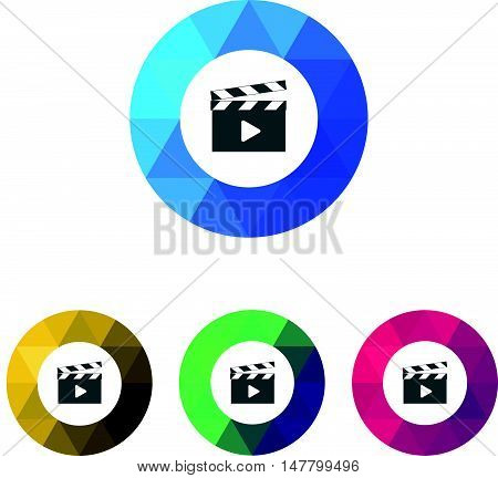 Modern Low Poly Ring Movie Clapper Icons
