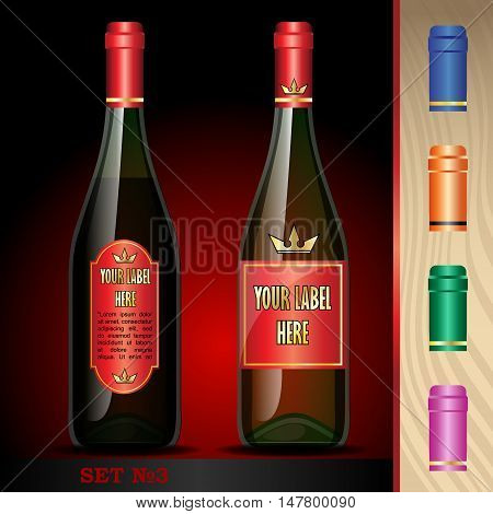 Vector wine bottles mockup with your label here text. Black bottle and red wine. Orange, green, blue and pink caps