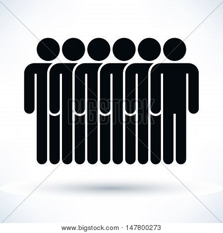 Black six people man figure with gray drop shadow isolated on white background in flat style. Graphic design elements save in vector illustration 8 eps