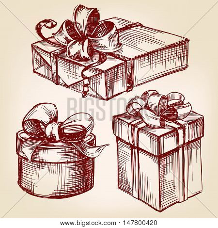 gift box set hand drawn vector llustration realistic sketch