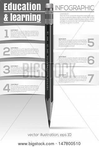 Education and learning. Infographic with pencil. Vector black and white design template