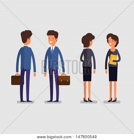 Business concept. Cartoon business man and woman in standing poses. Office workers, front and rear view. Flat design, vector illustration.