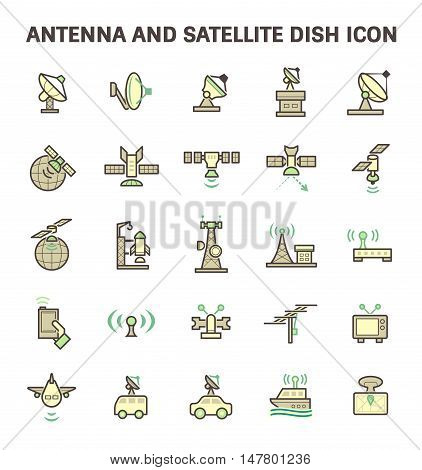 Antenna and satellite dish vector icon set, flat and color style.