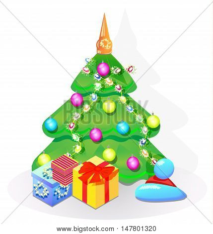 Christmas tree decorated with beads and Christmas balls and gifts
