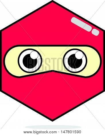 Simple Cartoon Face of Red Ninja Icon