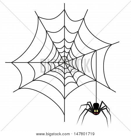 Halloween spider on web isolated on white background. vector illustration for Halloween design, website, flier, invitation card