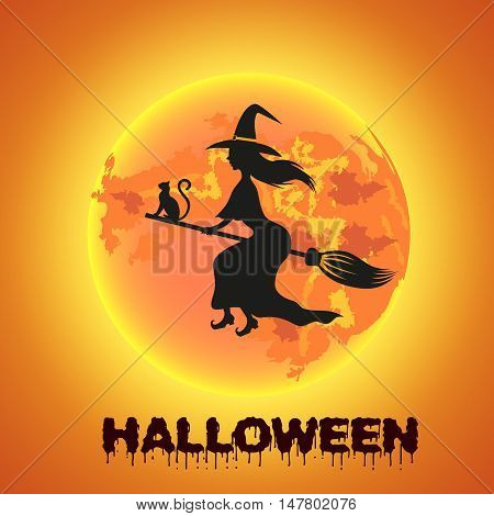Witch flying over the full moon with cat and bat. Vector illustration