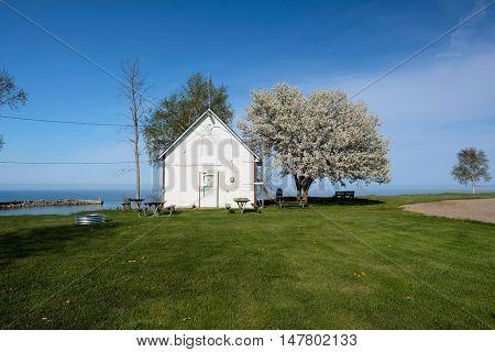 Lake shore at Pointe aux Barques, Lake Huron, Michigan, USA