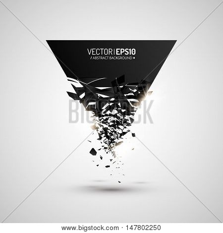 Black triangle with debris. Abstract black explosion. Geometric background. Vector illustration