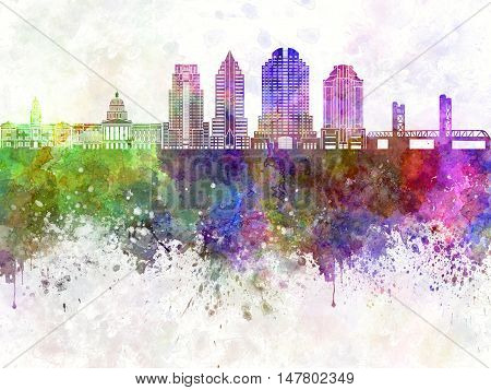 Sacramento skyline artistic abstract in watercolor background
