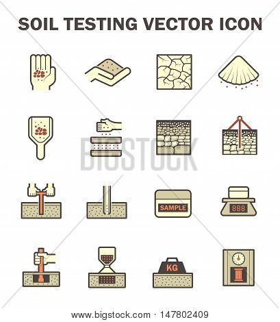 Vector icon of soil and soil testing.