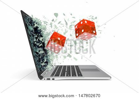 The concept of online games, isolated on white background. 3d illustration.