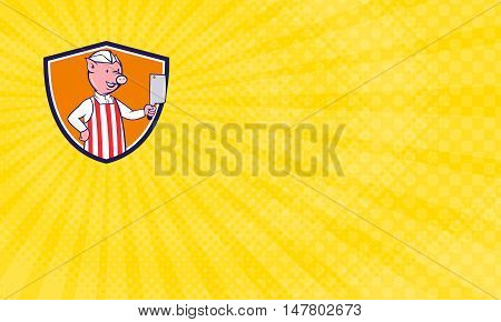 Business Card showing Illustration of a butcher pig holding meat cleaver viewed from front set inside shield crest on isolated background done in cartoon style.