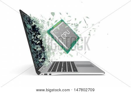 CPU flies out from the laptop smashing the glass into pieces. 3d illustration.
