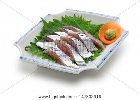 sanma sashimi, sliced fresh pacific saury, japanese cuisine