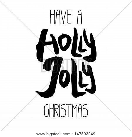 Decorative Xmas Lettering. Handwritten vector scalable design element. Modern ink calligraphy. Handdrawn black phrase isolated on white background. Perfect for Christmas decor, posters and cards