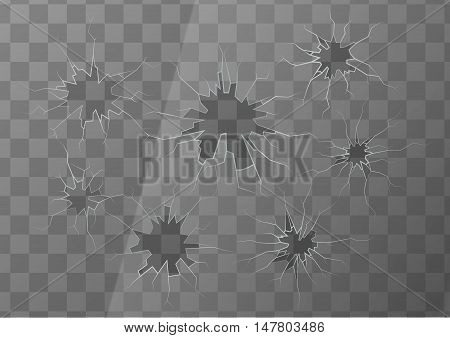 Realistic broken glass with several cracks on transparent background, square illustration
